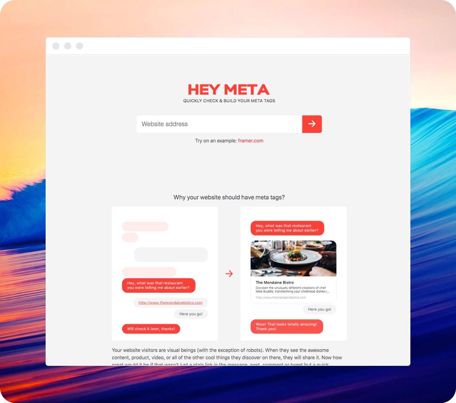 Photo of a mockup of the Hey Meta website.